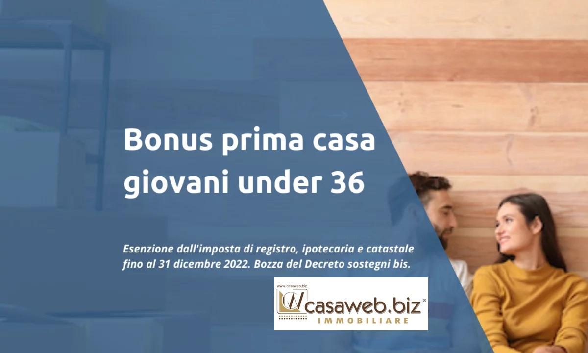 Esenzione GIOVANI UNDER 36 DL. 73  del 25/05/2021 art. 64